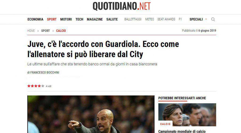 Guardiola su Quotidiano.net